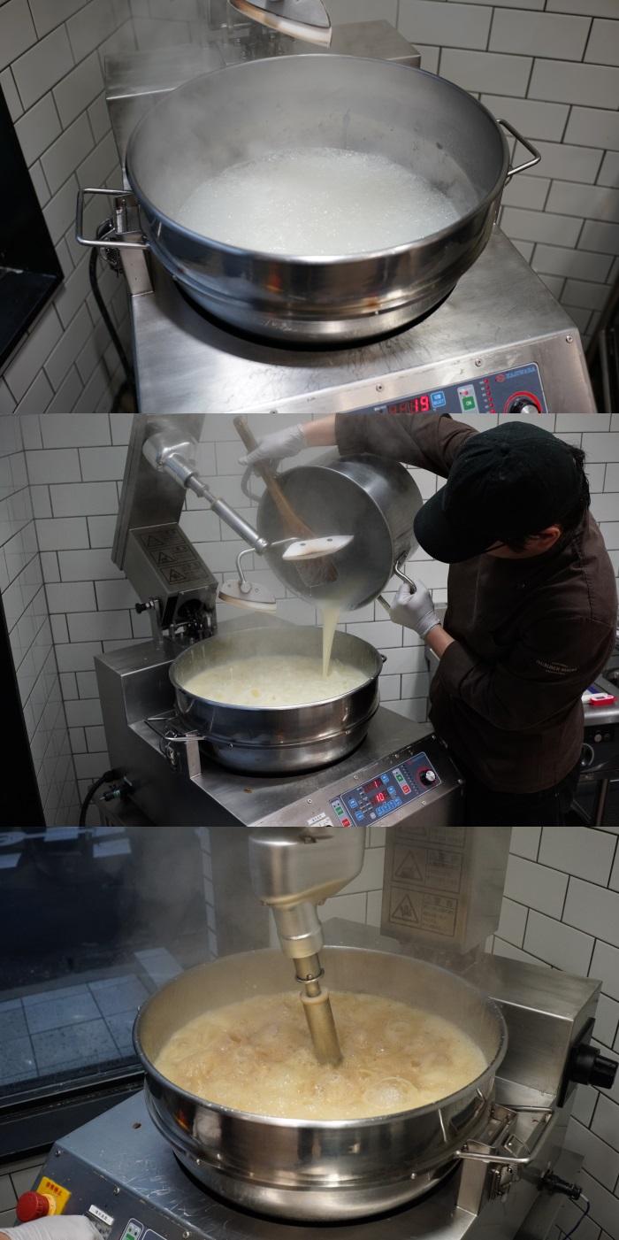 キャラメル作りの基本工程は、砂糖と生クリームを煮詰め固めるというもの
